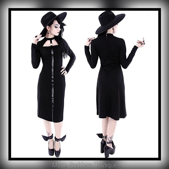 "restyle Dresses & Skirts - Black Gothic leather strap o-ring ""SCARLETT DRESS"""